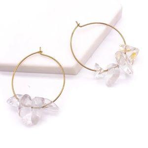 🆕💎 Clear Quartz Smooth Gold Hoop Earrings